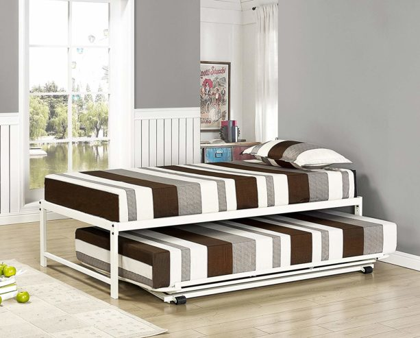 Kings Brand Furniture Twin Size White Metal Platform Bed with Pop Up Trundle