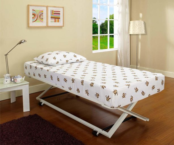 White Metal 39 Twin Size Pop Up Trundle For Daybeds