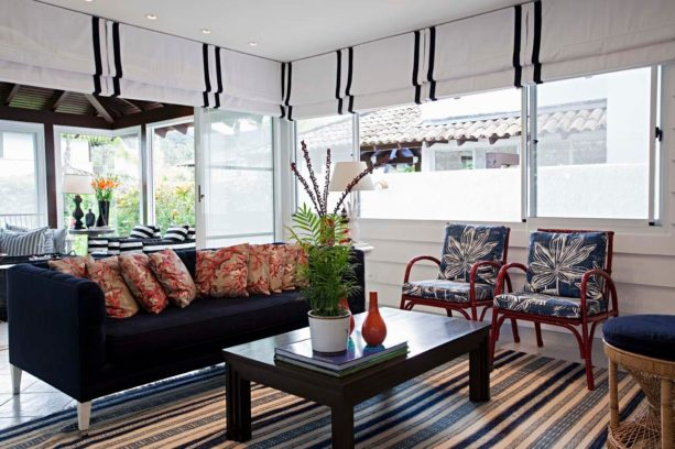 contemporary simple white flat roman shades with vertical stripes for glass doors and windows