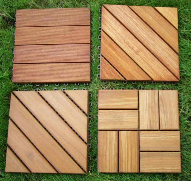 different style of wooden interlocking tiles for patio