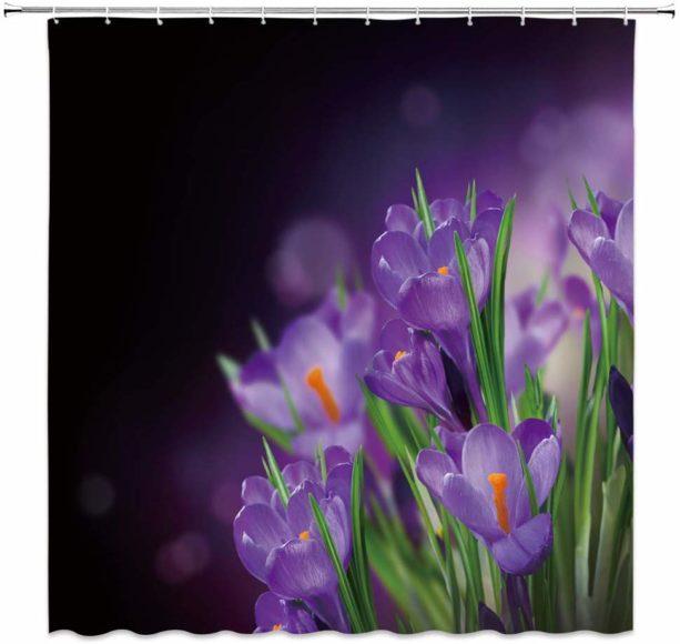 AMNYSF purple flower shower curtain