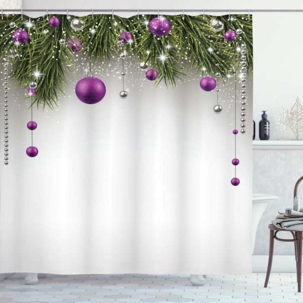 Ambesonne Christmas tree shower curtain