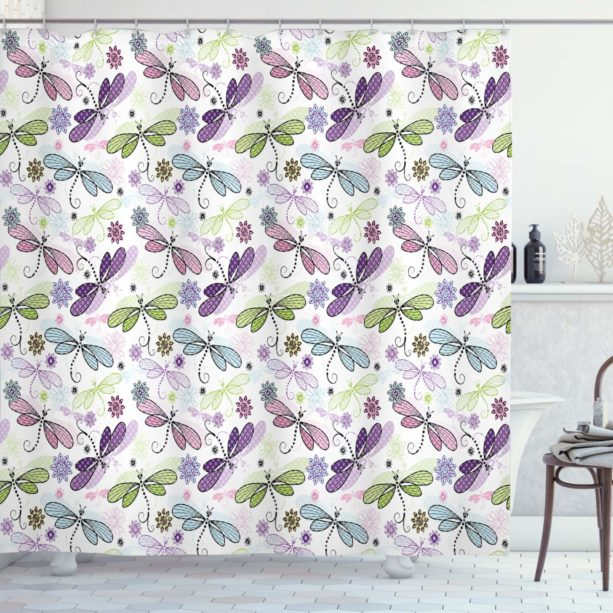 Ambesonne Dragonfly flower shower curtain