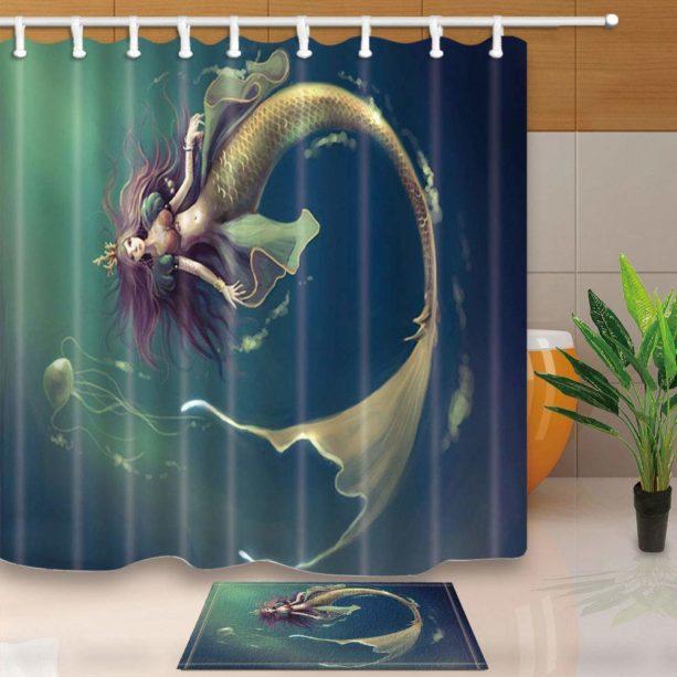 ChuaMi mermaid shower curtain set