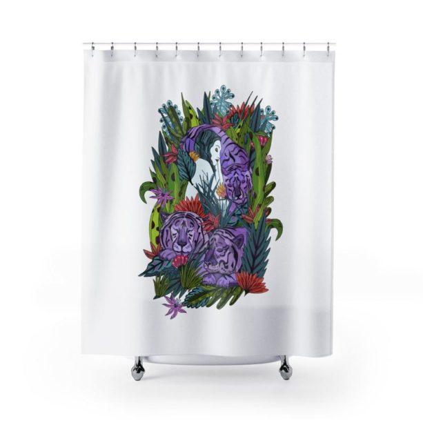 RedBlanka sleeping with tigers shower curtain