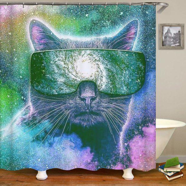 Sara Nell cat galaxy shower curtain