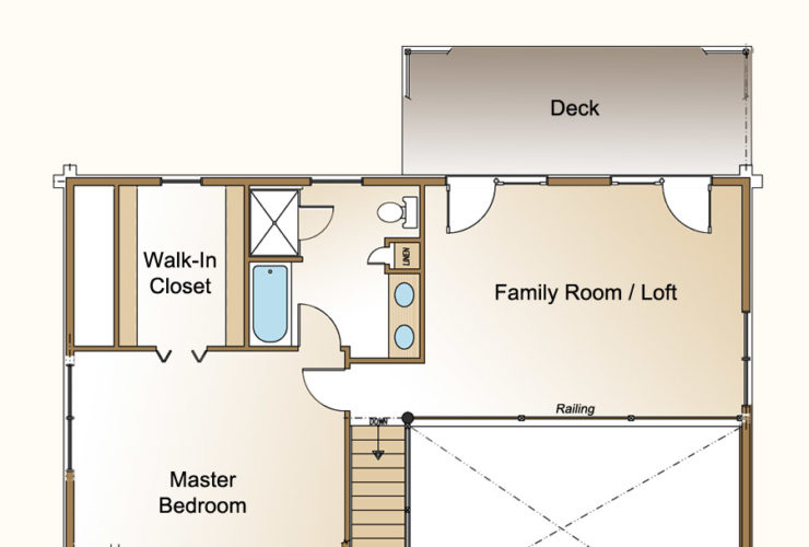 a second floor with master bedroom with walk-in closet and bath