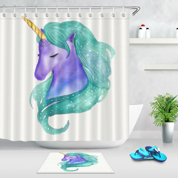 green and purple watercolor unicorn shower curtain
