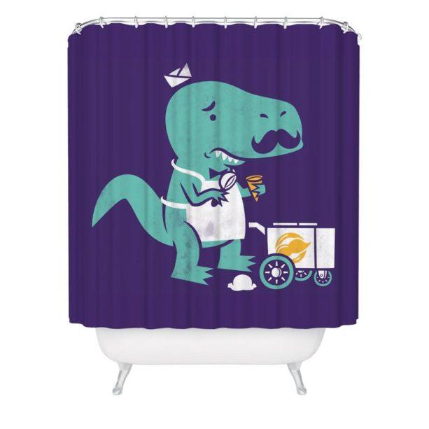 purple and green dinosaur shower curtain