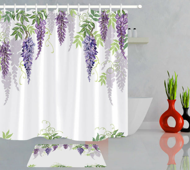 spring-themed flowers and leaves shower curtain