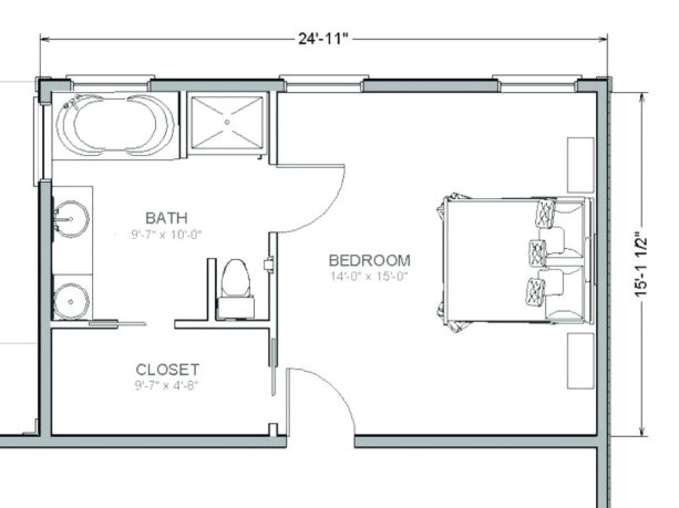 the floor plan of a master suite addition with 24' x 15' size