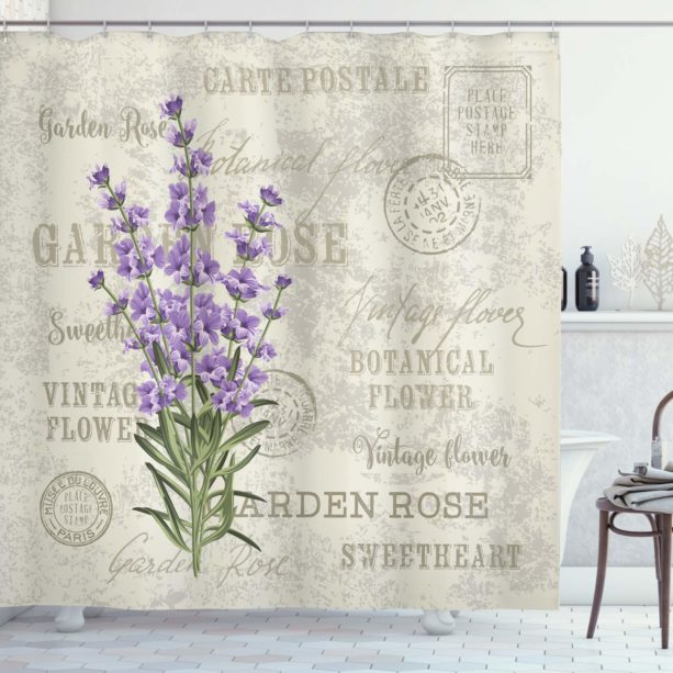 vintage lavender flower shower curtain with postcard detailing