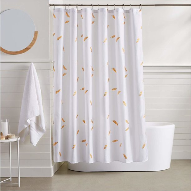 Amazon Basics gold feathers shower curtain