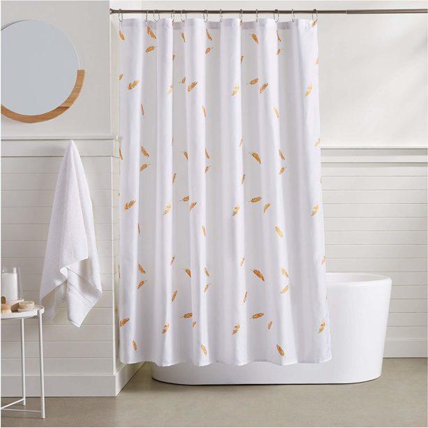 Amazon Basics gold feathers shower curtain