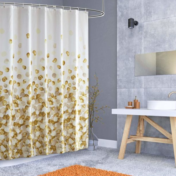 """Arichomy white and gold shower curtain with 72 x 72"""" size"""