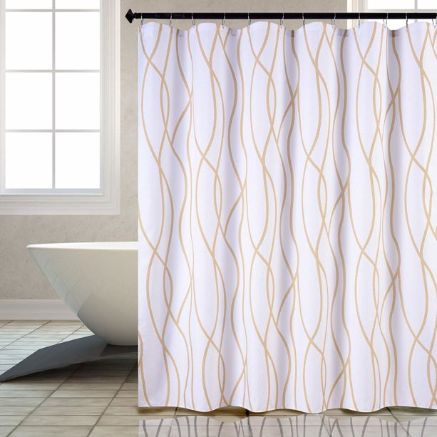 Biscaynebay textured shower curtain in dancing pattern