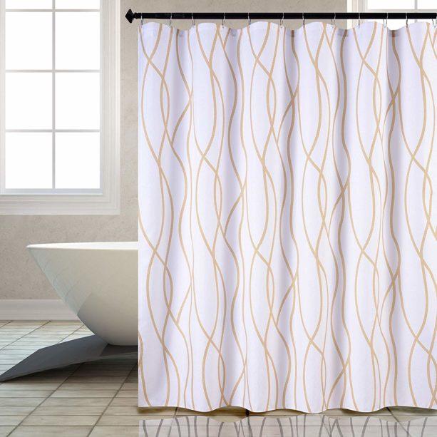 Biscaynebay textured shower curtain in dancing pattern