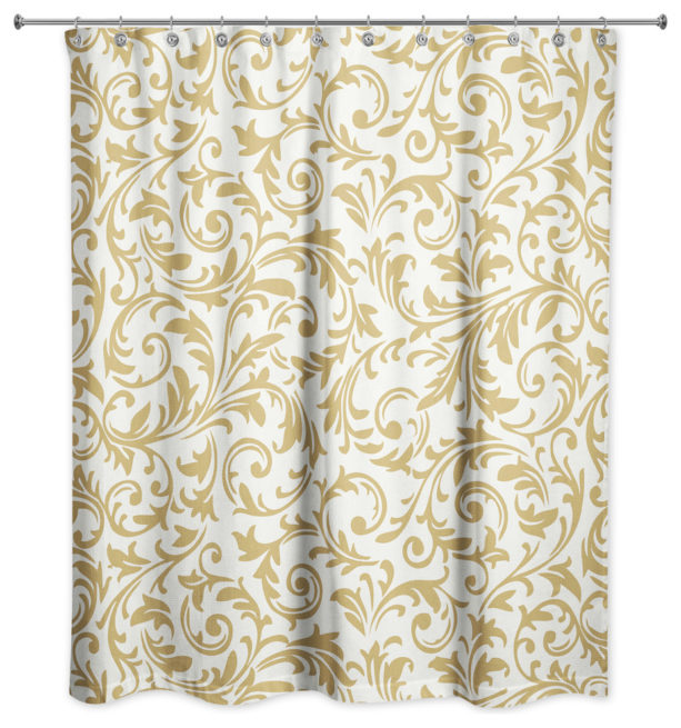 DDCG white and gold shower curtain in baroque pattern
