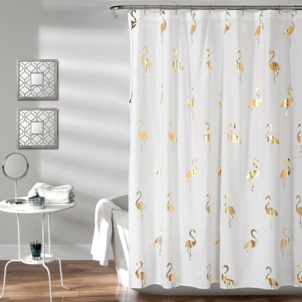 Lush Decor golden flamingo shower curtain