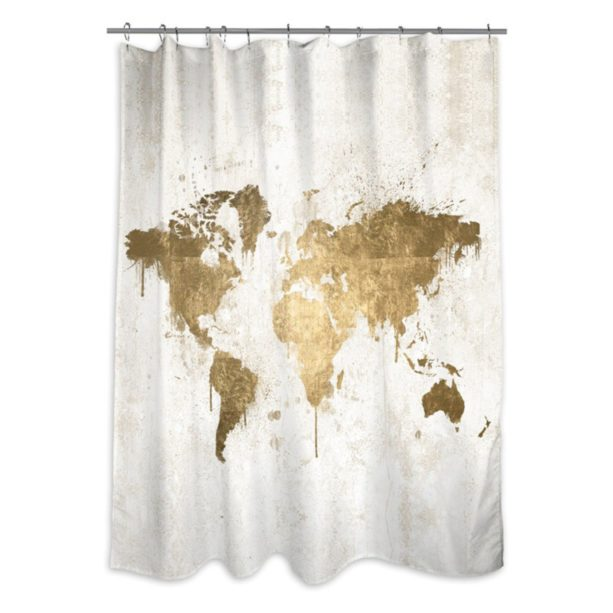 Oliver Gal Artist Co. Mapamundi shower curtain in white and gold colors