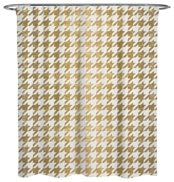 Oliver Gal Artist Co. golden Houndstooth shower curtain