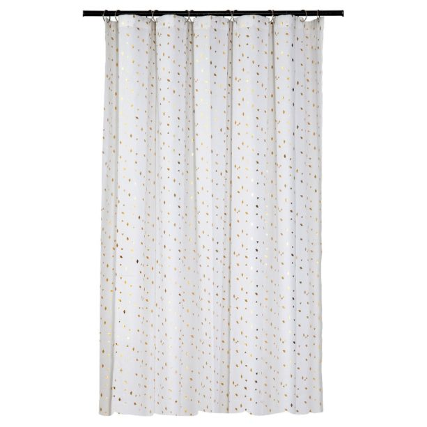 Room Essentials white shower curtain with gold diamonds detail
