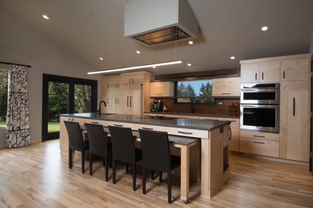 clear-coated maple cabinets and Amazing Gray wall paint