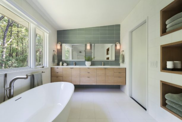 a mid-century modern bathroom interior with white marble floor