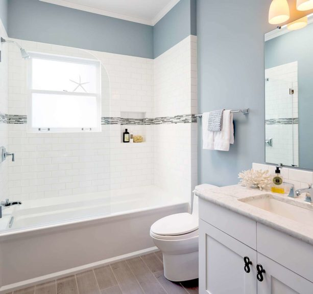 white subway tile and white grout for shower tub wall