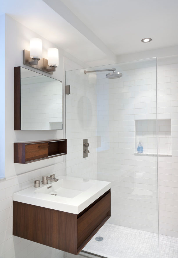 white subway tile and white grout for sink backsplash and shower room wall
