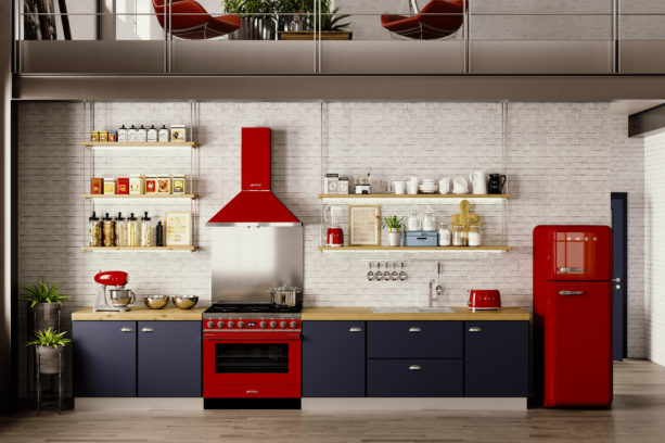 a stunning black eclectic kitchen with a set of stunning red Smeg appliances