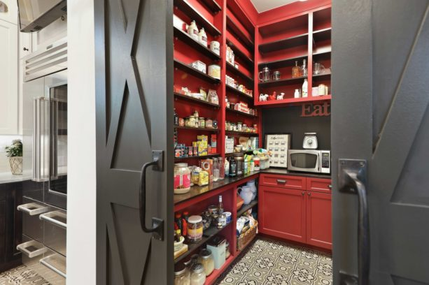 farmhouse-style kitchen pantry with black and red theme