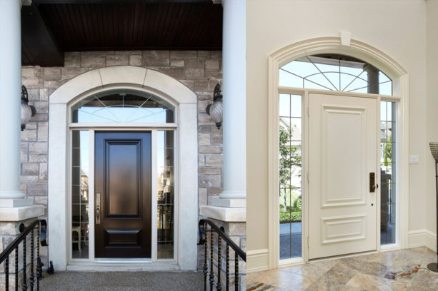 an amazing entry design that combines door, transom, sidelights, and oversized trim