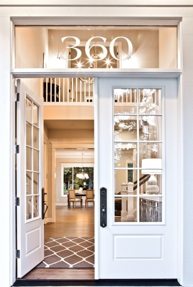 transitional front door transom with custom home number vinyl decal