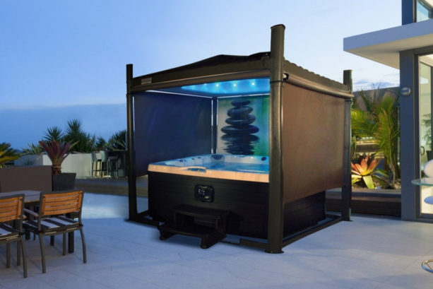a hot tub cover with screens and other technologies