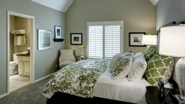luxurious, patterned green bedspread and pillows for bedroom with gray walls