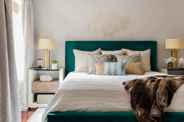 peacock green teal-like bed looks elegant and fashionable in a light gray bedroom