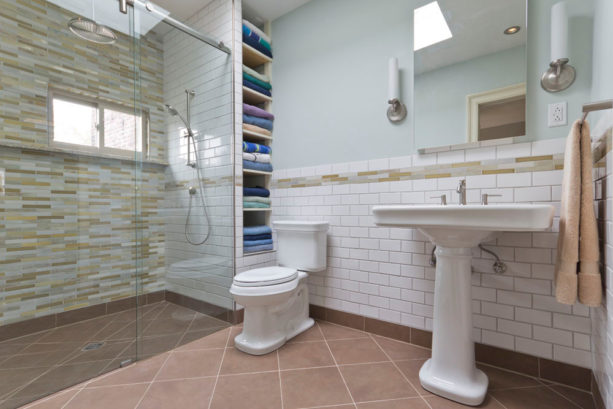 a barrier-free shower stall without a tub- perfect for a small master bathroom