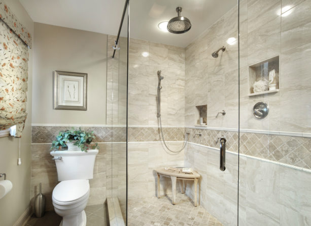 elegant traditional master bathroom without tub in beige color