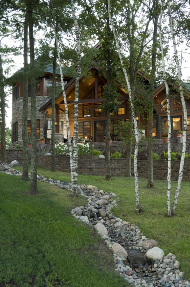 rustic retaining wall ideas in natural steep slopes