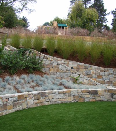 terraced style retaining wall ideas in a hillside steep slopes