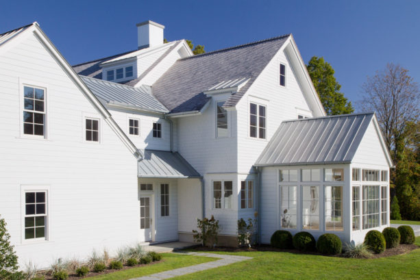 vinyl siding gable roof in a traditional ranch style residential building