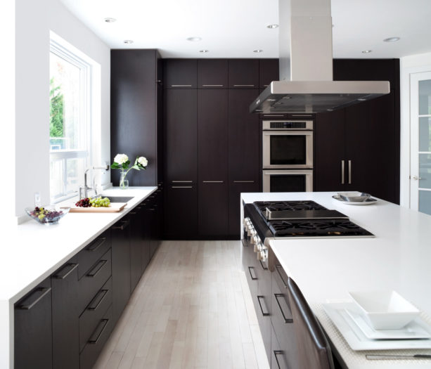 ebony-colored floor to ceiling cabinets made out of maple wood