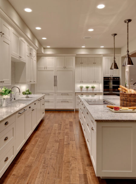 elegant white shaker floor to ceiling cabinets in benjamin moore dove white