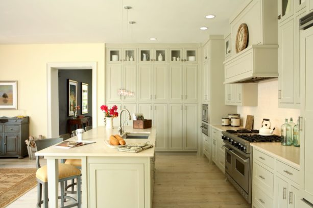 gray floor to ceiling cabinets with satin nickel hardware