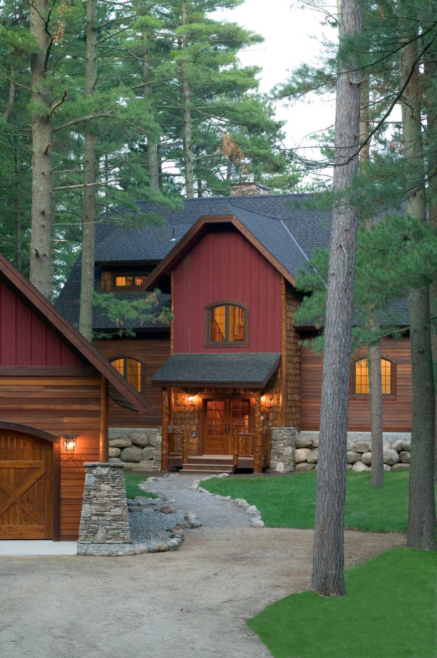 large cabin with behr red pepper paint color exterior