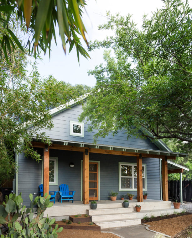 mid-sized contemporary cabin with benjamin moore ocean floor exterior color paint