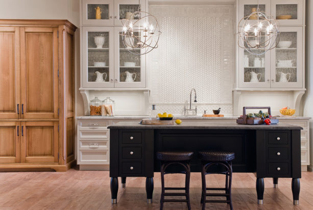 milky white glass front floor to ceiling cabinets with flemish glass