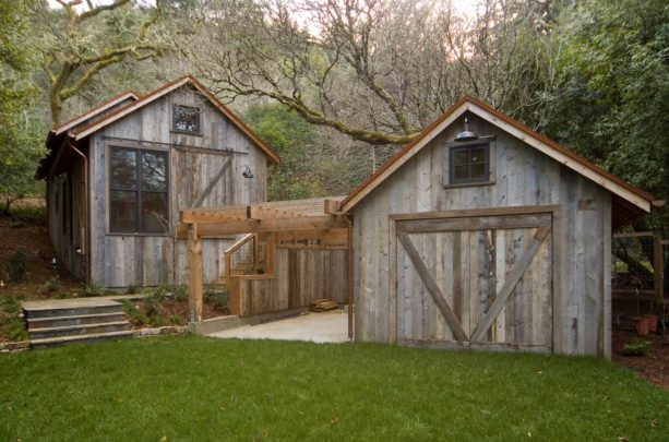 rustic post and beam carport combined with cedar panel siding