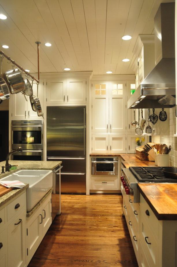 wood shaker cabinets floor to ceiling painted in velvet white
